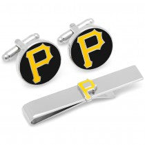 Pittsburgh Pirates Officially Licensed Cufflinks Tie Bar Gift Set