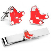 "Boston Red Sox ""Red Sox"" Officially Licensed Cufflinks Tie Bar Gift Set"