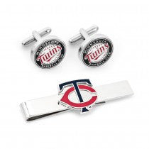 Minnesota Twins Officially Licensed Cufflinks Tie Bar Gift Set