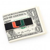 Miami Hurricanes Officially Licensed Cufflinks Money Clip Gift Set