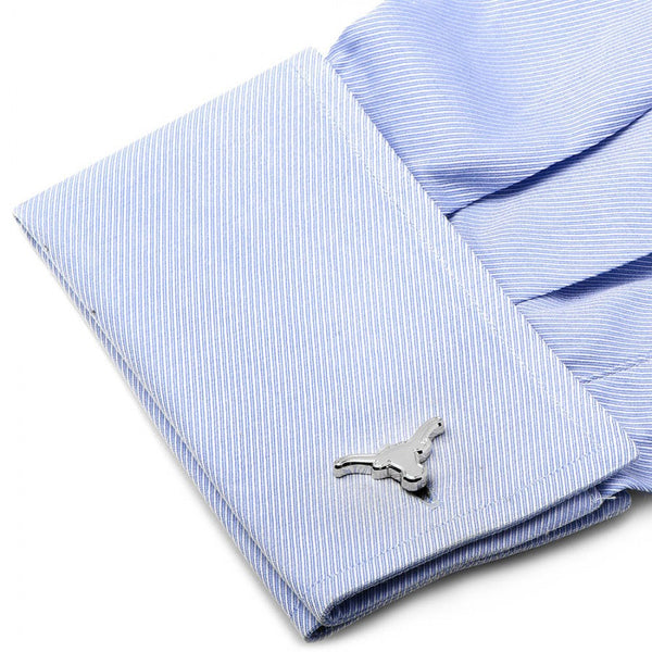 Texas Longhorns Palladium Silver Edition Officially Licensed Cufflinks with Gift Box