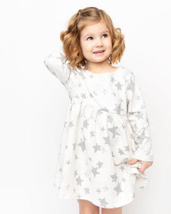 Cream Stars Long Sleeve Babydoll Dress Kids - Long Sleeve Babydoll Dress Kids Clothing