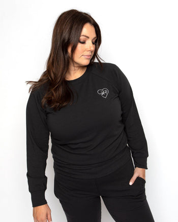 Love FP Black Crew Sweatshirt women's - crew sweatshirt Women's Clothing