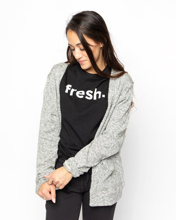 Fresh Black Slub Tee Women's - Tee Women's Clothing