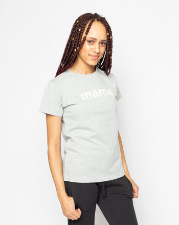 Mama Heather Grey Slub Tee Women's - Tee Women's Clothing