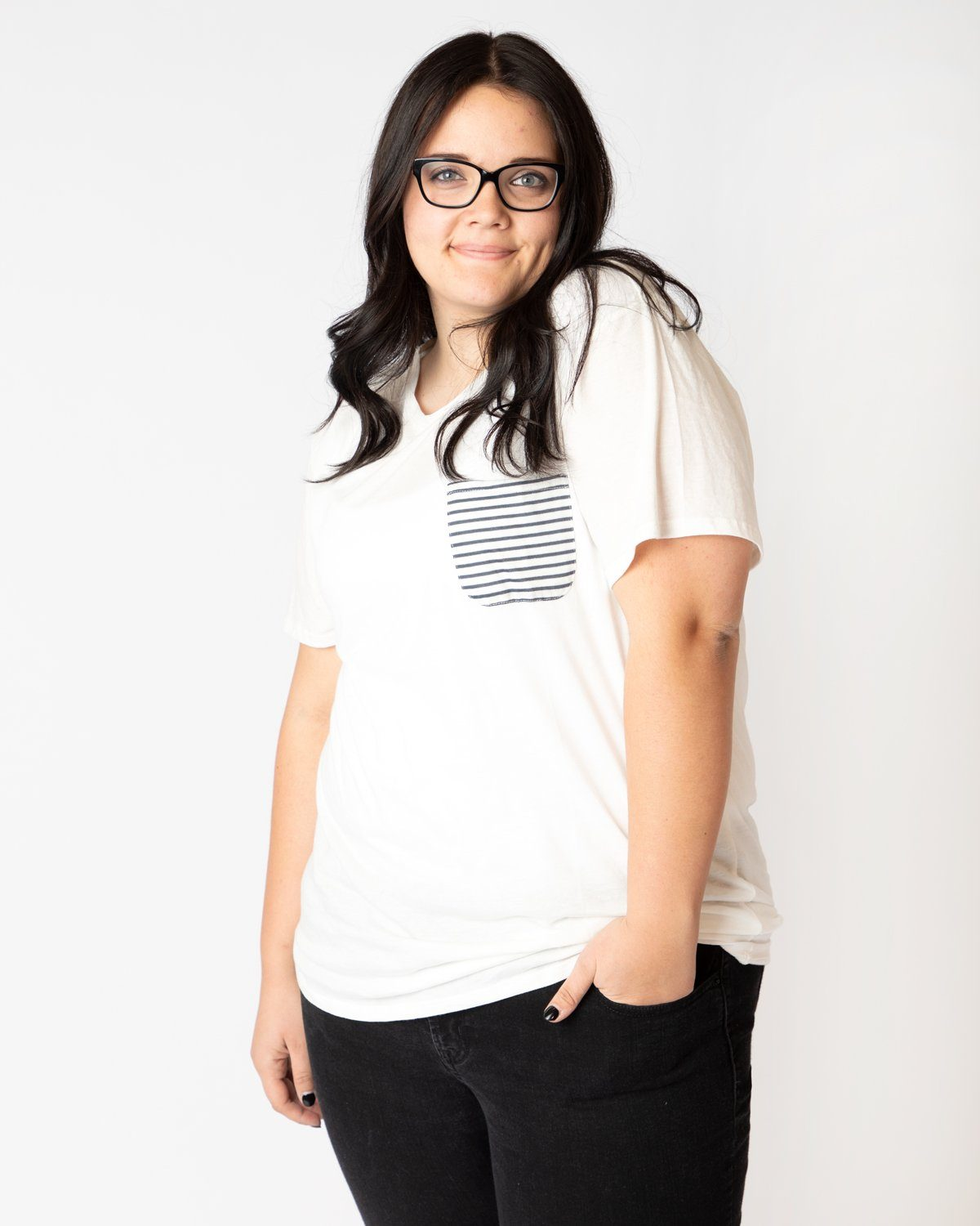 White with Striped Pocket Slouchy Tee Women's - Tee Women's Clothing