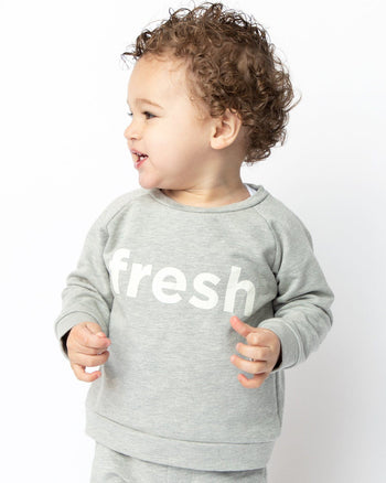 Heather Gray Fresh Crew Sweatshirt Kids - Crew Sweatshirt Kids Clothing