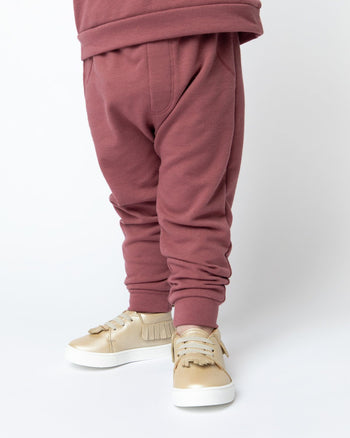 Burgundy Banded Bottom Jogger Kids - Jogger Kids Clothing