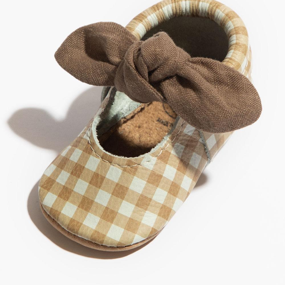 Almond Gingham Knotted Bow Mocc Knotted Bow Mocc Soft Sole