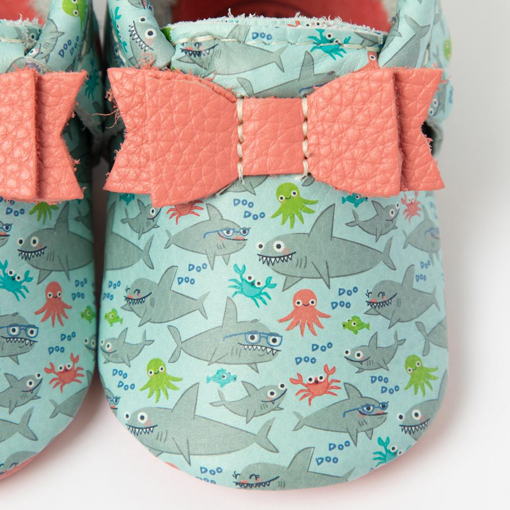 Baby Shark Bow Mocc Bow Moccasins Soft Soles
