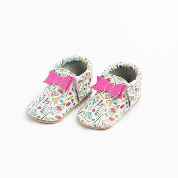 Back To School Bow Mocc Bow Moccasins Soft Soles