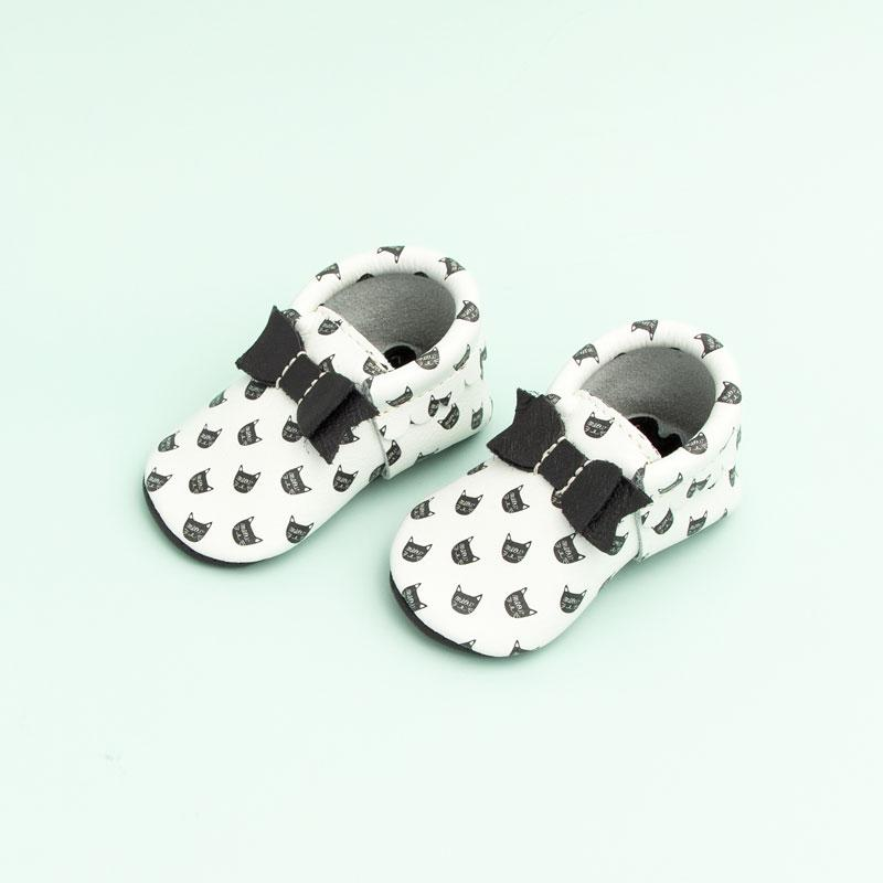 Black Cat Bow Mocc Bow Moccasins Soft Soles