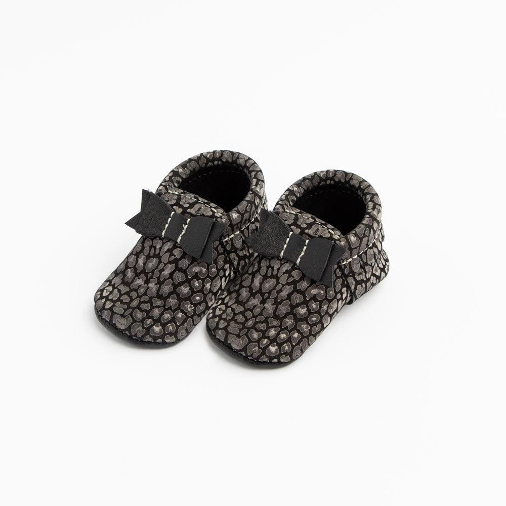 Black Leopard Bow Mocc Mini Sole Mini Sole Bow Moccasin mini soles