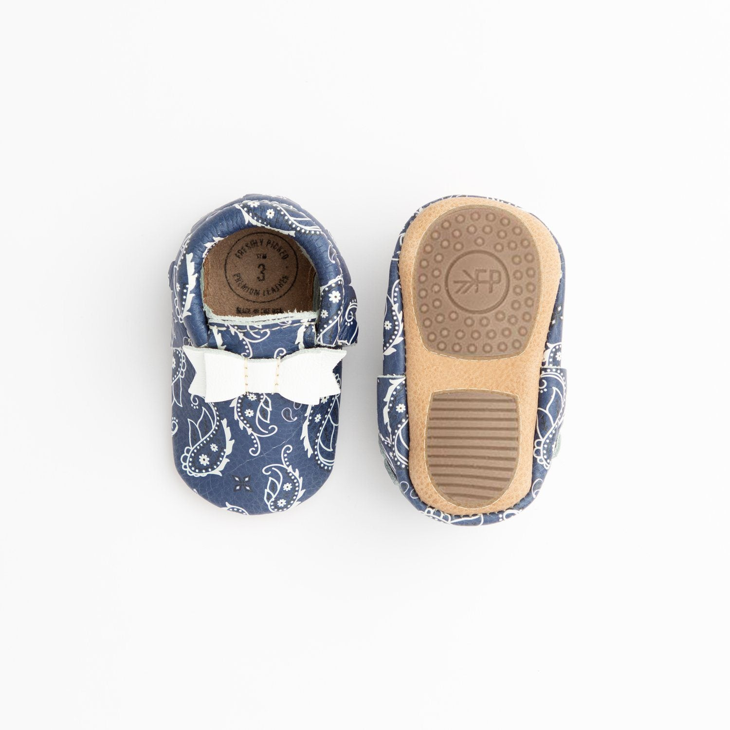 Blue Bandana Bow Mocc Mini Sole Mini Sole Bow Moccasin Mini soles