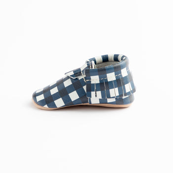 Blue Gingham Moccasins Soft Soles