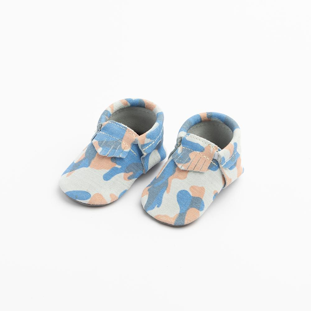 Blue and Orange Camo City Mocc City Moccs Soft Soles