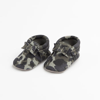 Blue Suede Camo Bow Mocc Bow Moccasins Soft Soles