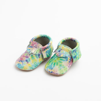 Blue and Yellow Tie Dye Moccasins Soft Soles