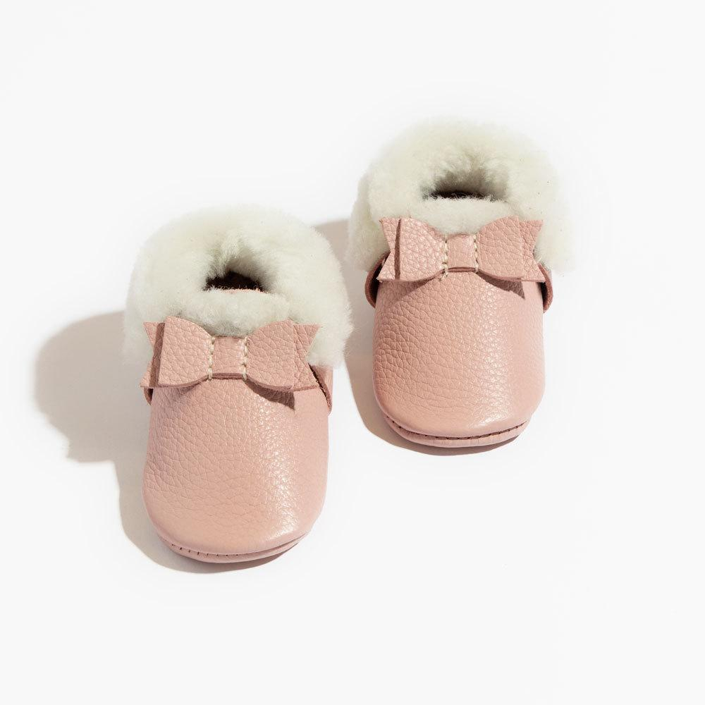 Blush Shearling Bow Mocc Mini sole Mini Sole Shearling Bow Mocc mini soles