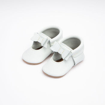 Bright White Ballet Flat Bow Mocc