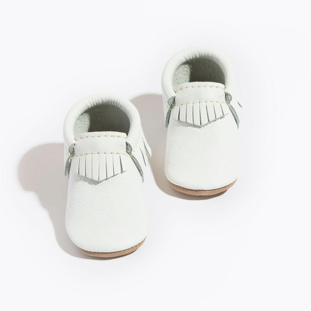 Bright White Moccasins Soft Soles