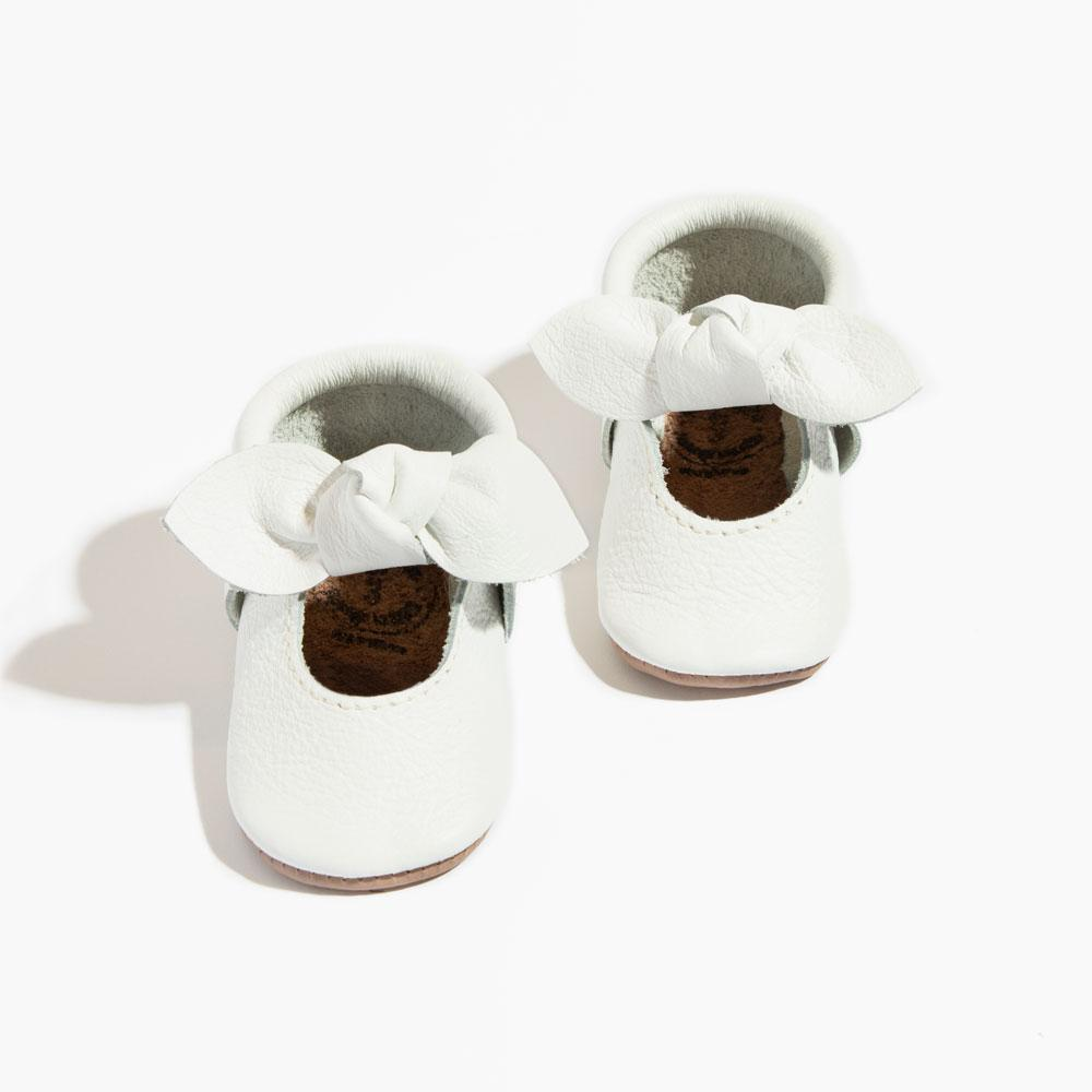 Bright White Knotted Bow Mocc Mini Sole knotted bow mocc mini soles