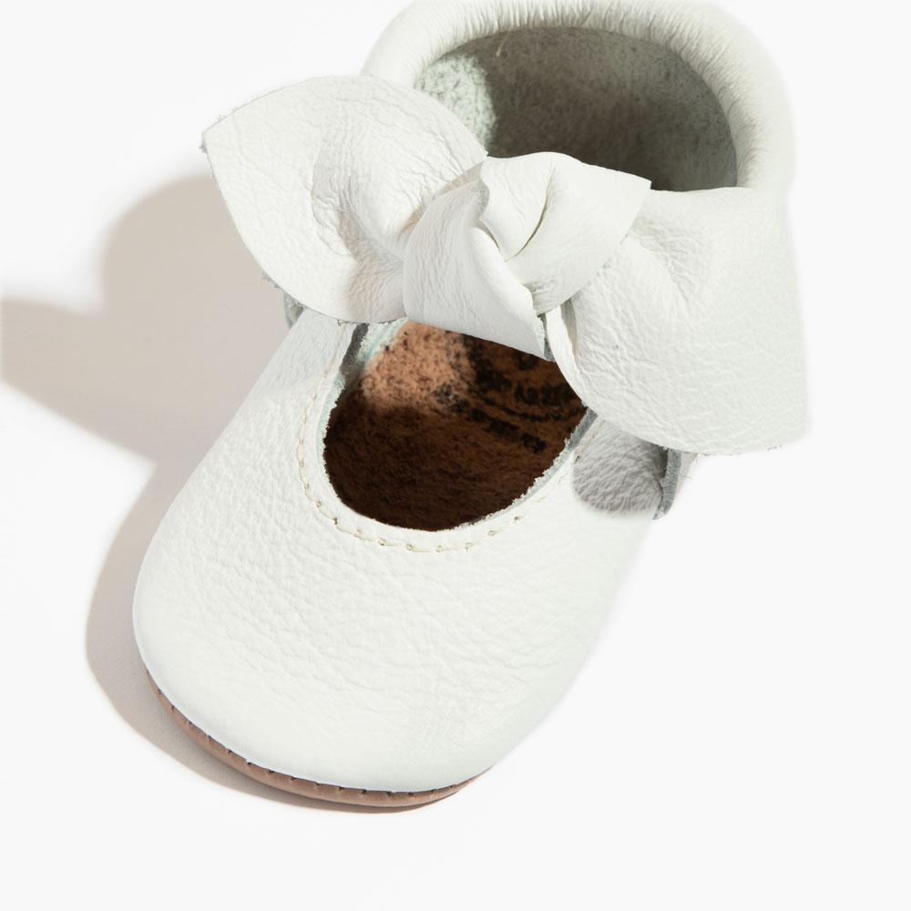Bright White Knotted Bow Mocc knotted bow mocc Soft Soles