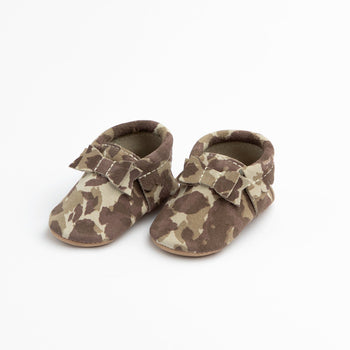 Brown Suede Camo Bow Mocc