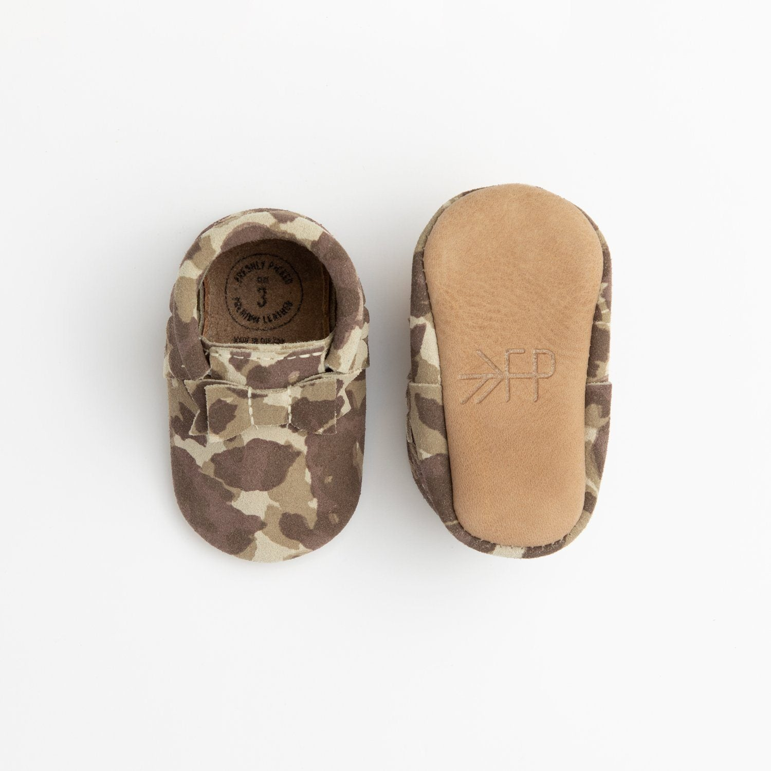 Brown Suede Camo Bow Mocc Bow Moccasins Soft Soles