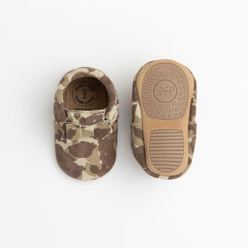 Brown Suede Camo Bow Mocc Mini Sole