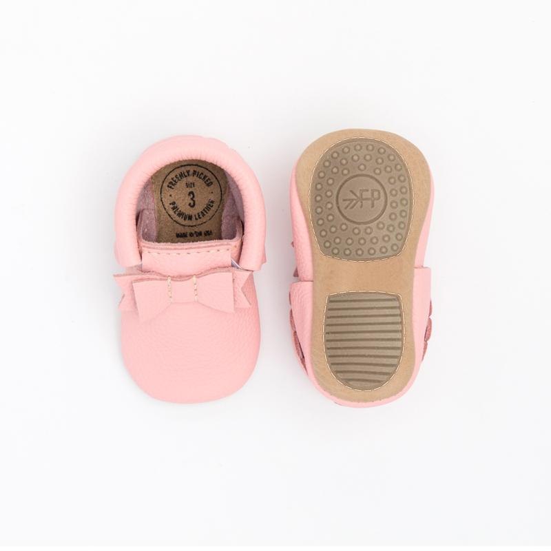 Bubblegum Bow Mocc Mini Sole Mini Sole Bow Moccasin Mini soles