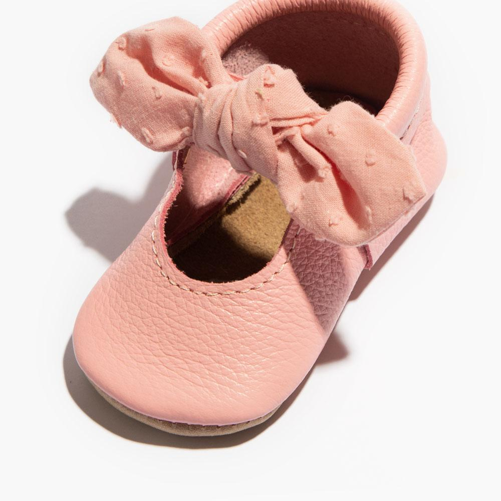Bubblegum Swiss Dot Knotted Bow Mocc Knotted Bow Mocc Soft Sole