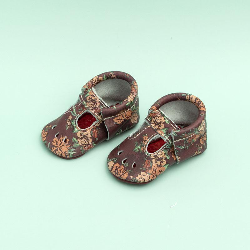 Burgundy Floral Mary Jane Mary Janes Soft Soles