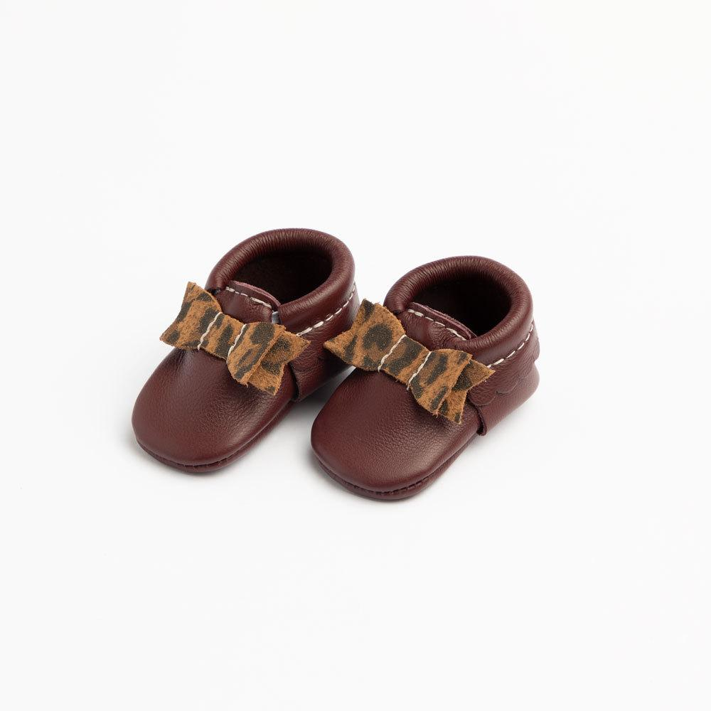 Newborn Burgundy with Leopard Bow Mocc Newborn Bow Mocc Soft Soles