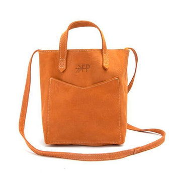 Terra Cotta Textured Suede Mini Tote Leather Tote Lindon bags
