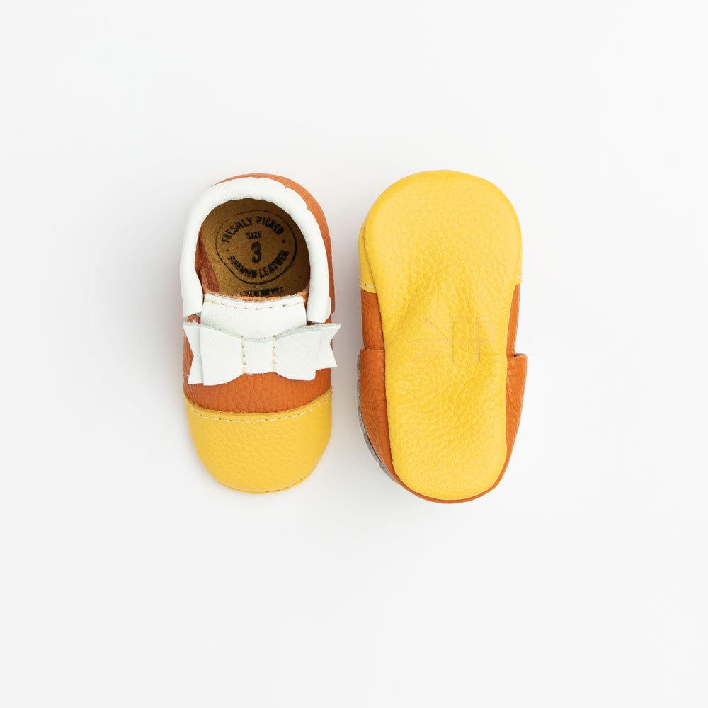Candy Corn Bow Mocc Bow Moccasins Soft Soles