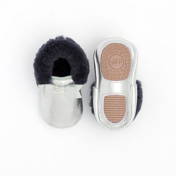 Chrome with Navy Shearling Bow Mocc Mini Sole Mini Sole Shearling Bow Mocc mini soles