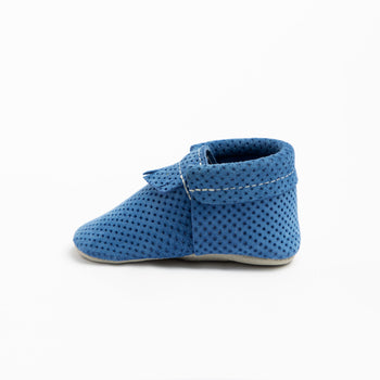 Cobalt Perforated Suede City Mocc