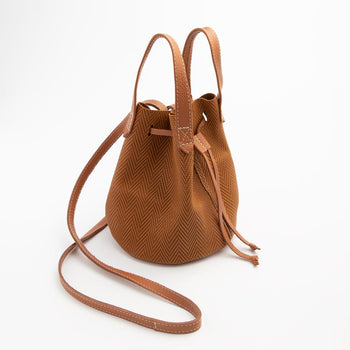 Cognac Chevron Bucket Bag Bucket Bag Lindon Bags