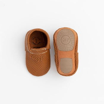 Cognac Chevron City Mocc Mini Sole