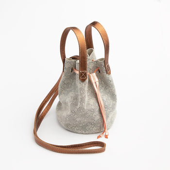 Coppered Lace Suede Bucket Bag
