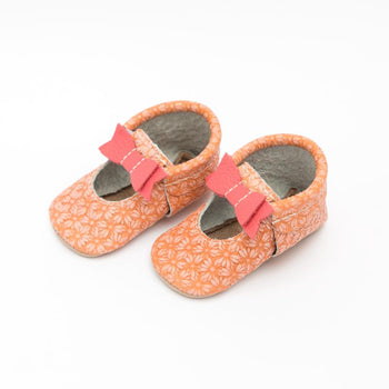 Coral Daisy Ballet Flat Bow Mocc