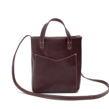 Deep Burgundy Leather Mini Tote Leather Tote Bags