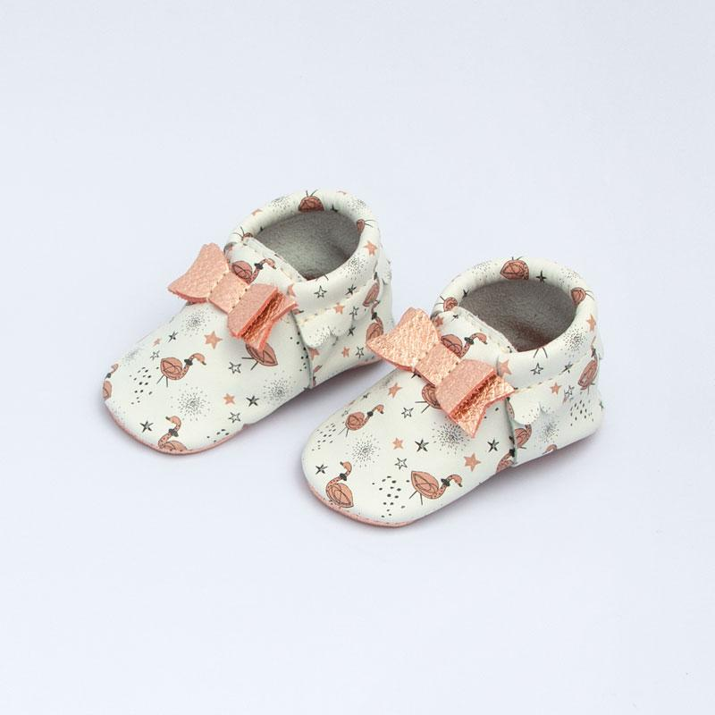 Dreamy Flamingo Bow Mocc Bow Moccasins Soft Soles