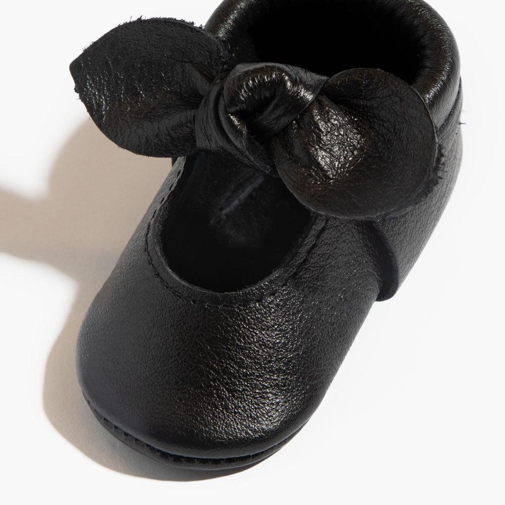 Ebony Knotted Bow Mocc Mini Sole mini sole knotted bow mocc mini sole