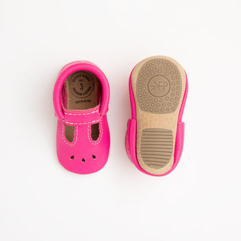 Electric Pink with Weathered Brown Mary Jane Mini Sole