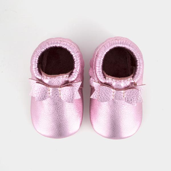 Frosted Rose Bow Mocc Bow Moccasins Soft Soles