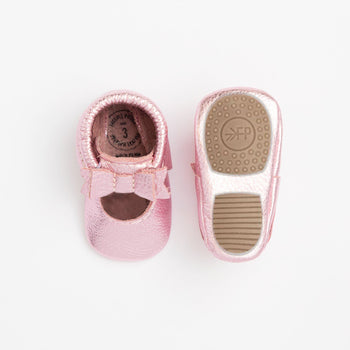 Frosted Rose Ballet Flat Bow Mocc Mini Sole Mini Sole Ballet Flat Bow Mocc mini soles