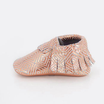 Geo Rose Moccasins Soft Soles