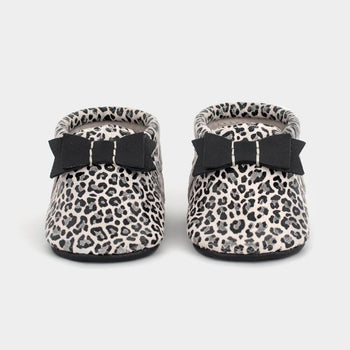 Glossy Leopard Bow Mocc Bow Moccasins Soft Soles